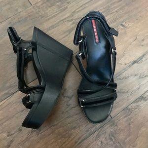 Prada Saffiano Leather Wedges